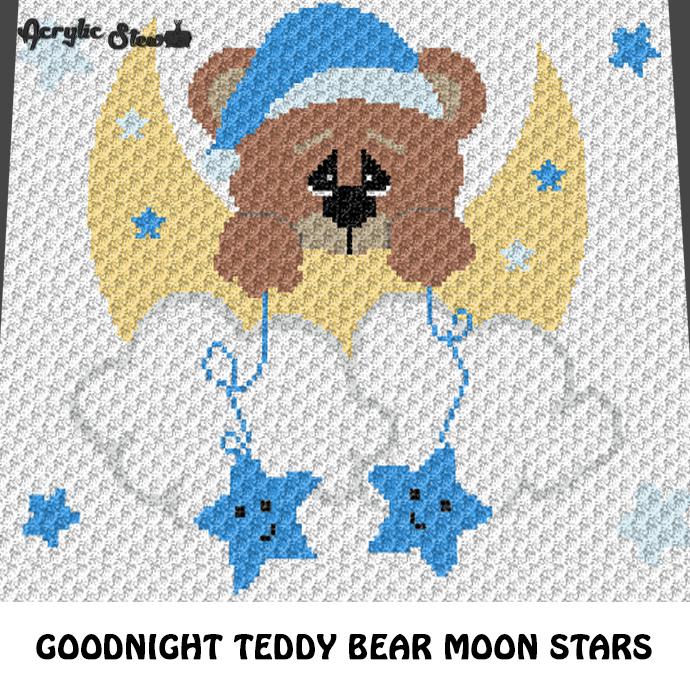 Goodnight Teddy Bear Moon and Stars crochet graphgan blanket pattern; graphgan
