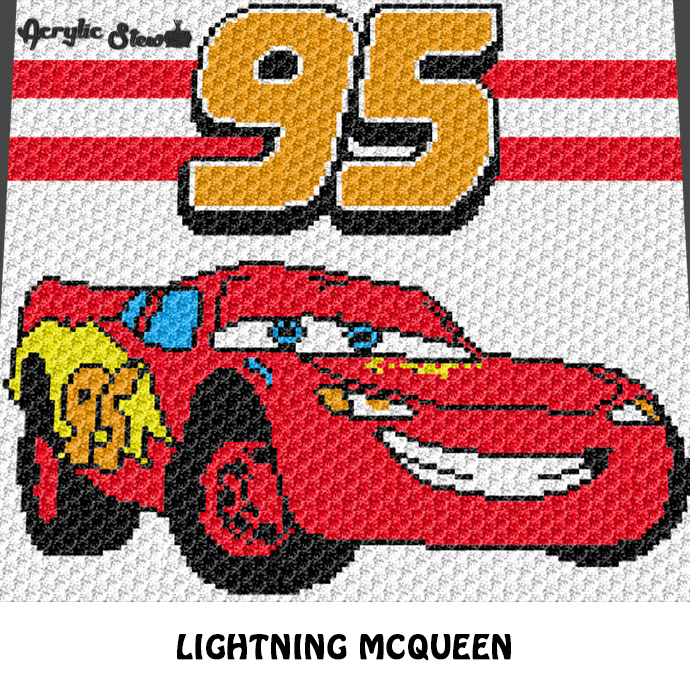 Lightning McQueen 95 Cars Movie Disney Pixar Character crochet graphgan blanket