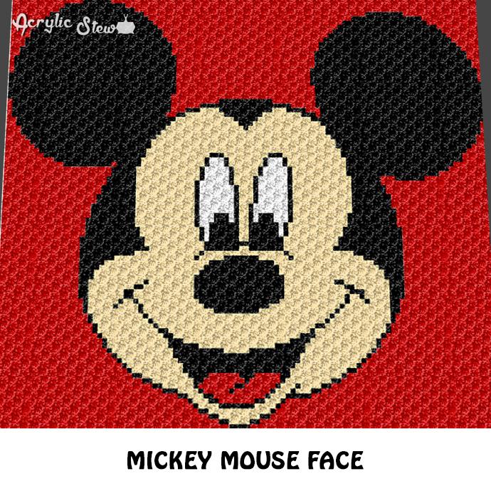 Mickey Mouse Face Disney Cartoon Character crochet graphgan blanket pattern;