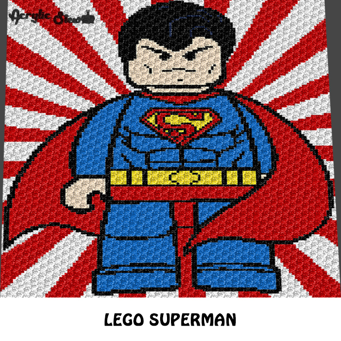 Lego Superman DC Comics Superhero crochet graphgan blanket pattern; graphgan