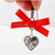 Silver Filigree Heart Charm with Orange Ribbon, Pet Collar Charms, Cat Lover