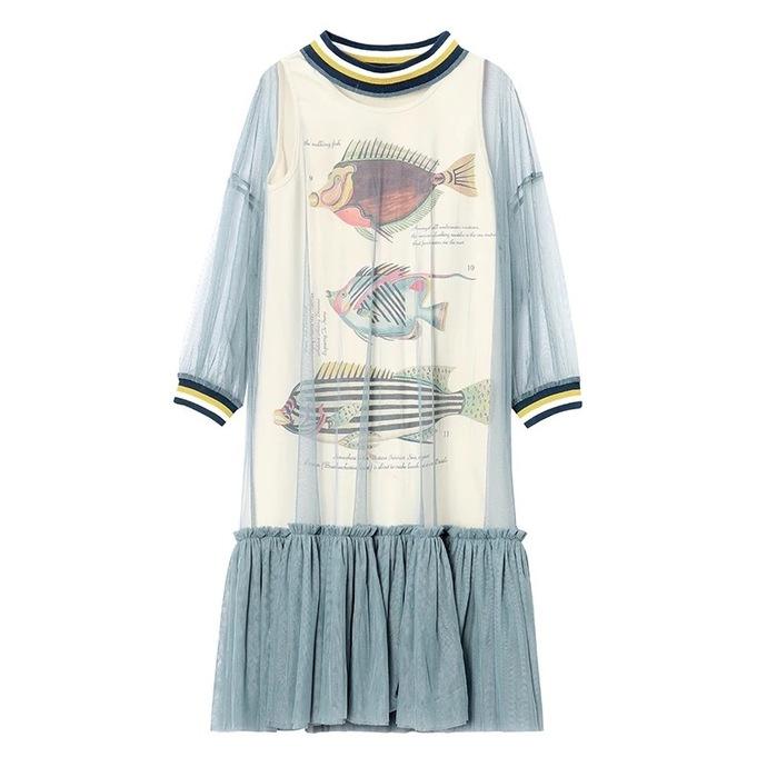 Dream of Fish: Summer Two Pieces Mesh midi Digital Print Dress
