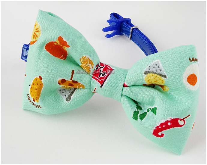 Japanese Snack Cat Bow Tie, Mint Green, Slide on, Bowties for Dogs, Pet