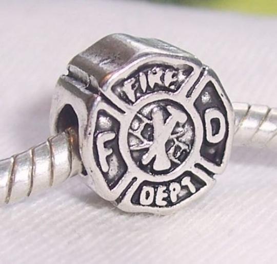 Fire Department Firefighter Badge FD Rescue Bead fits European Charm Bracelets