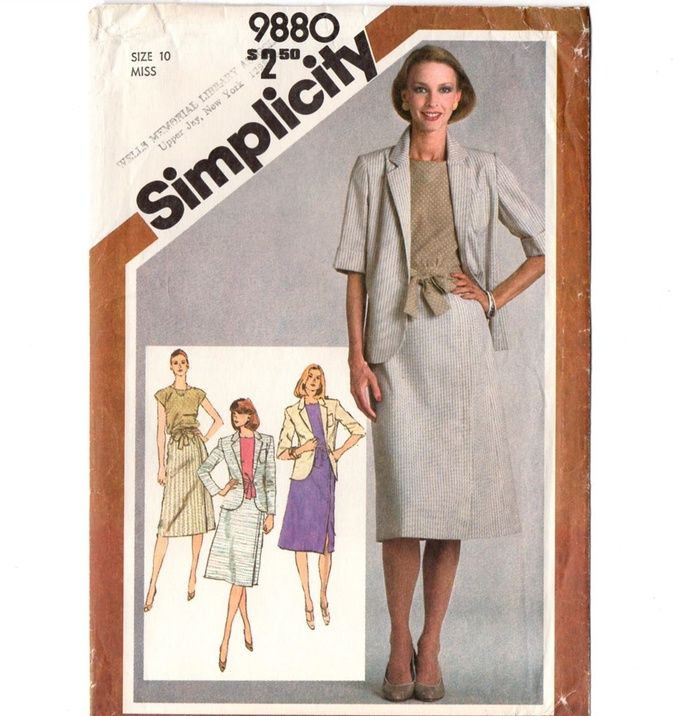 Simplicity 9880 Misses Skirt, Top, Jacket 80s Vintage Sewing Pattern Uncut Size