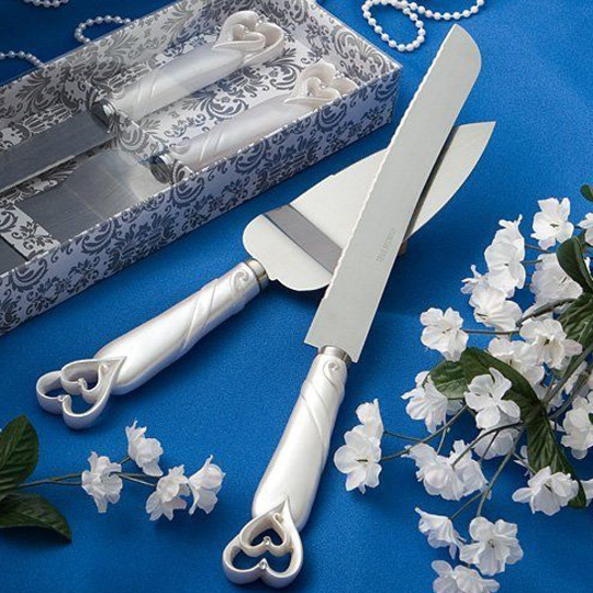 Interlocking hearts design cake knife/server set Free Shipping