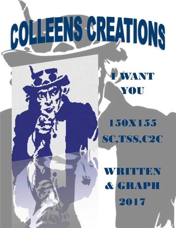 I Want You Crochet Written and Graph Design