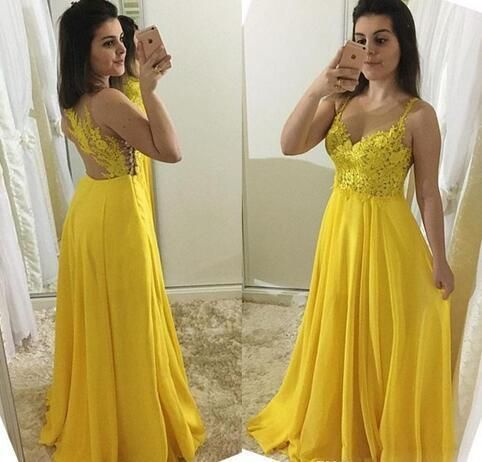 Yellow Prom Dress,A-Line Prom Gown,Spaghetti straps Prom Dress,Appliques Prom