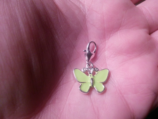 Clip On Charms Fit Link Chain Bracelets GREEN Butterfly Clip On Charms Silver
