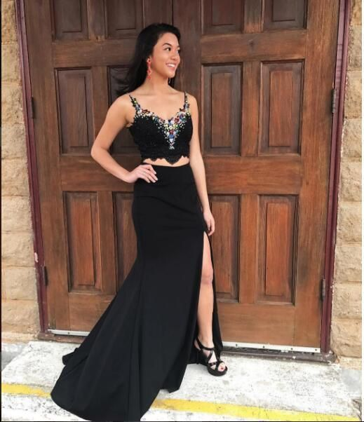 Black Prom Dress with Beading,Two Pieces Prom Dress with Slit,Long Formal Party