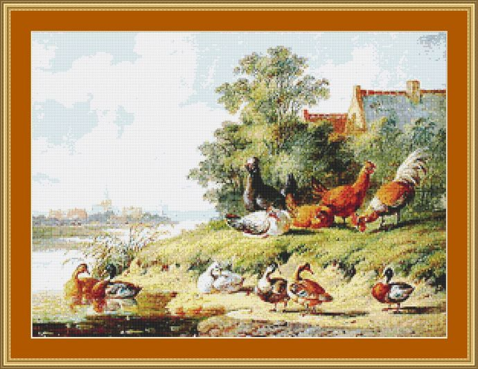 Birds At The River Cross Stitch Pattern - Instant Downloadable Digital Pattern