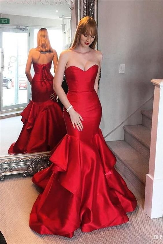 Elegant Red Sweetheart Mermaid Formal Gown,Sexy Party Dress,Formal Dress,930903