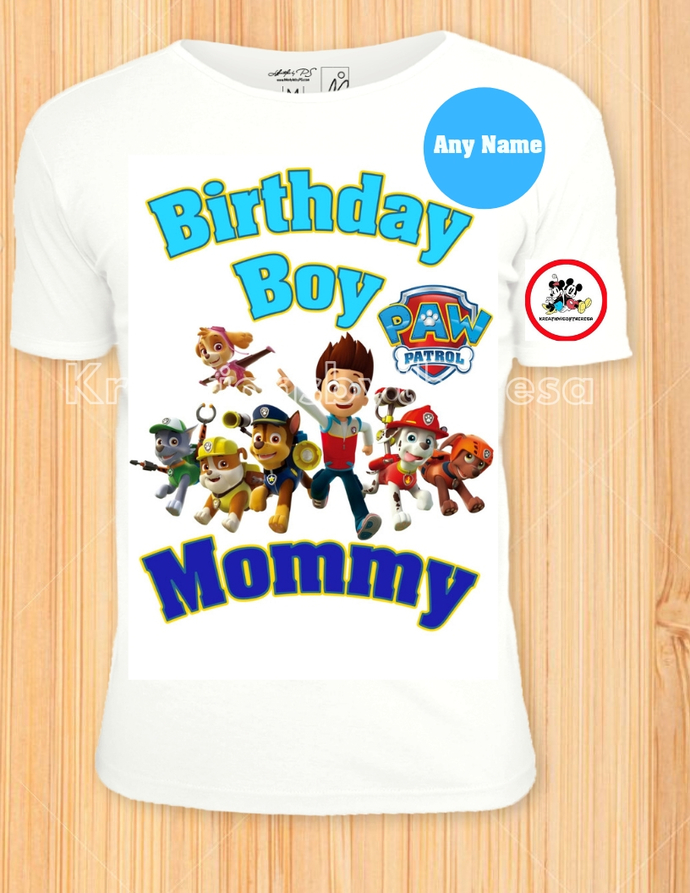Paw Patrol Birthday Boy Ryder and Friends Mommy Iron On Transfer/Printable