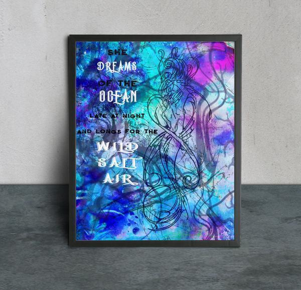 Digital Download Mermaid Quote Art Print