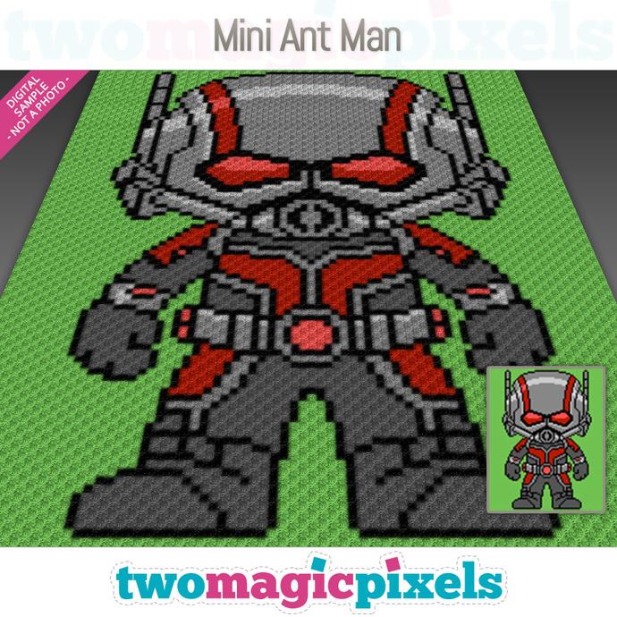 Mini Ant Man crochet graph (C2C, Mini C2C, SC, HDC, DC, TSS), cross stitch;