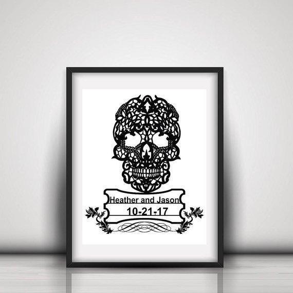Personalized Handcut Papercut Skull