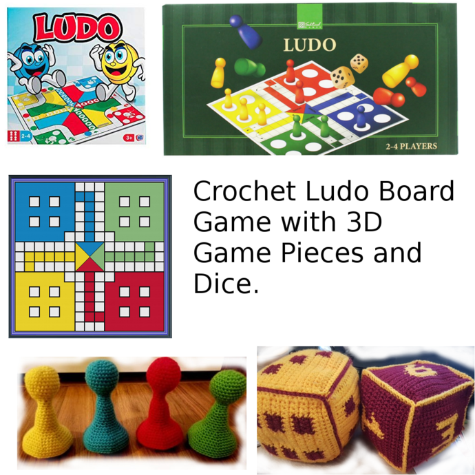 Crochet Ludo Board Game with 3D Game Pieces and Dice (SC)