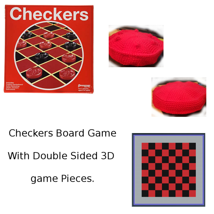 Crochet Checkers with 3D Double Sided Game Pieces. (TSS)