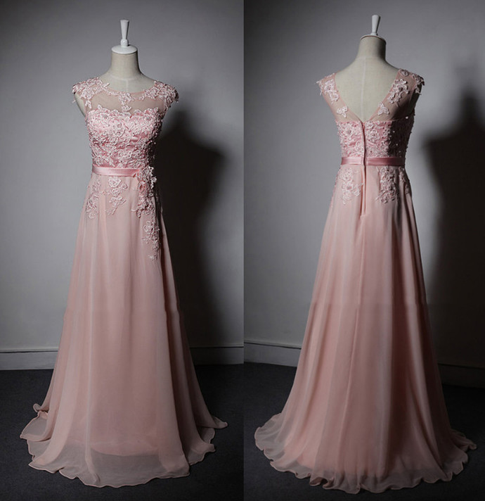 Pink Prom Dress,A-Line Prom Gown,Appliques Prom Dress,Chiffon Prom Gown 9794