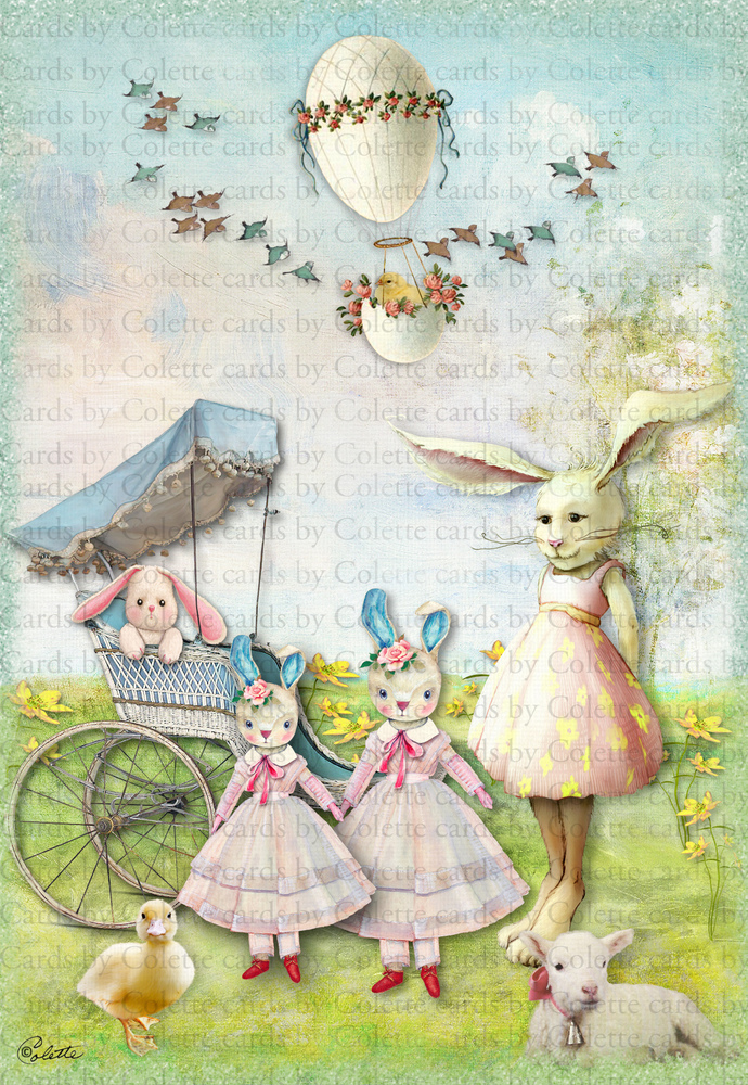 Easter Bunny Mom and Children Digital Collage Greeting Card1075