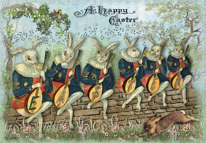 Easter Bunnies Musicians Digital Collage Greeting Card2160