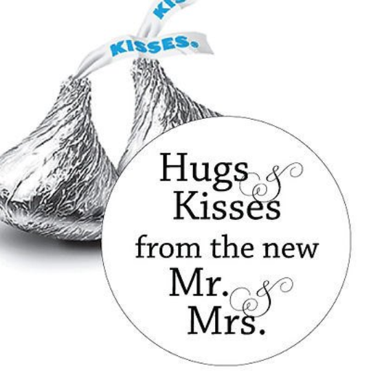 108 Hugs and Kisses from the new Mr & Mrs.Hershey Kiss Stickers Favors (candy