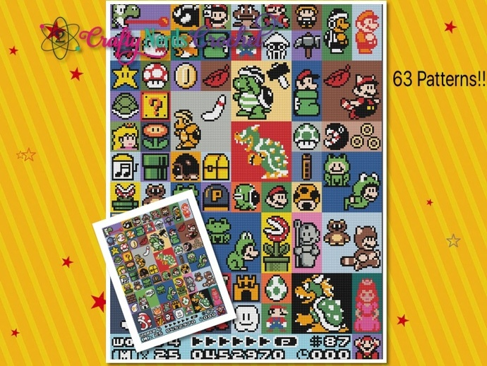 Mario CAL FULL Bundle ZIP file with 63 Patterns with C2C Written instructions