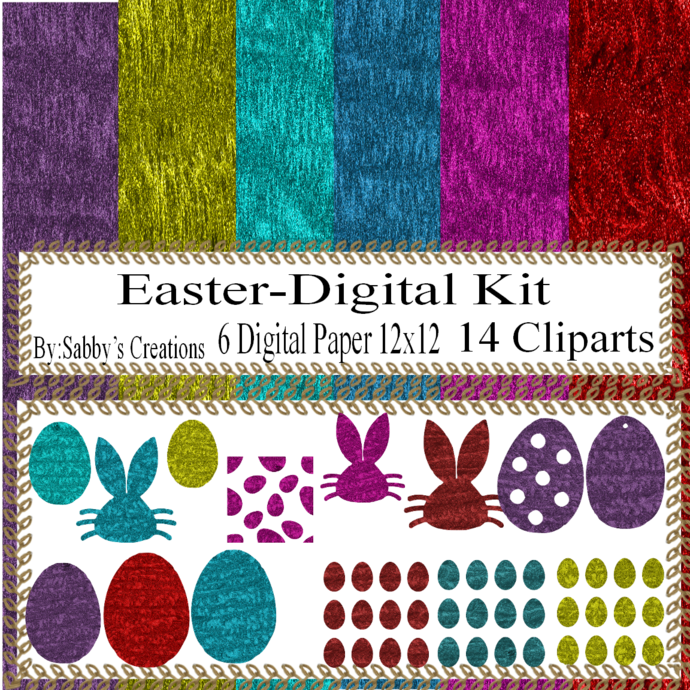 Easter Digital Kit g-Digtial Paper-Egg-Bunny-Art Clip-Gift Tag-Glitter-Jewelry-T