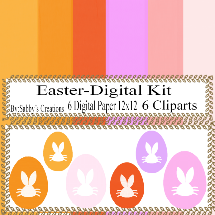 Easter Digital Kit i-Digtial Paper-Egg-Bunny-Art Clip-Gift Tag-Jewelry-T