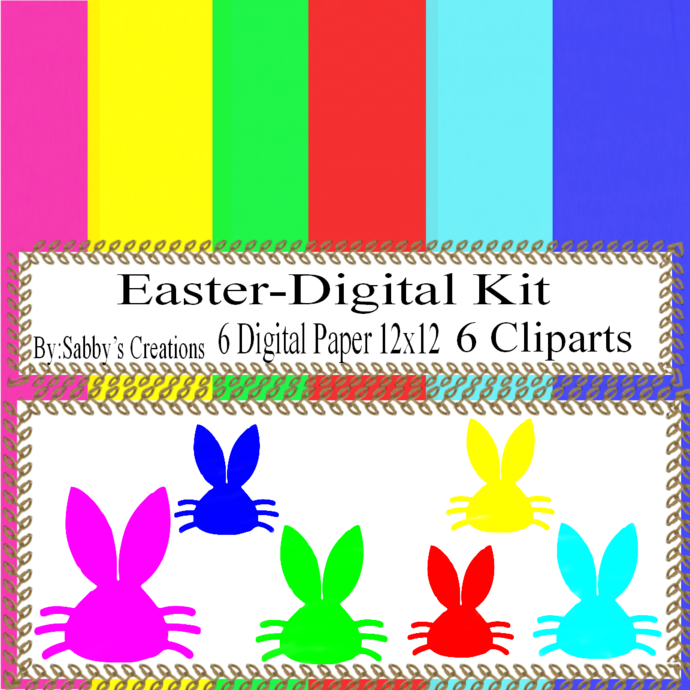 Easter Digital Kit j-Digtial Paper-Egg-Bunny-Art Clip-Gift Tag-Jewelry-T