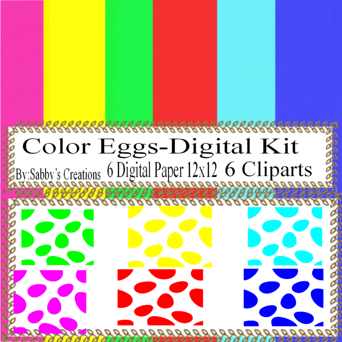 Easter Digital Kit 10a-Digtial Paper-Egg-Bunny-Art Clip-Gift Tag-Jewelry-T