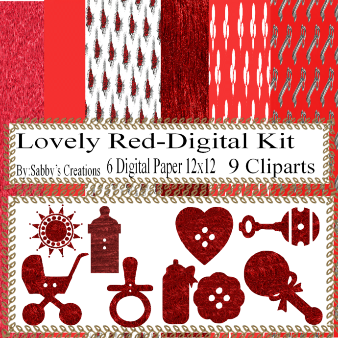 Lovely Red Digital Kit-Digtial Paper-Art Clip-Gift Tag-Key-Jewelry-T