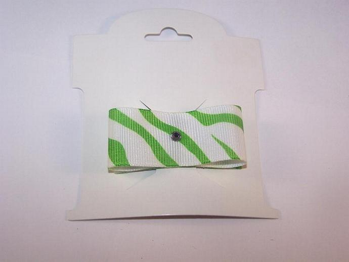 Green and White Zebra Snap Clip