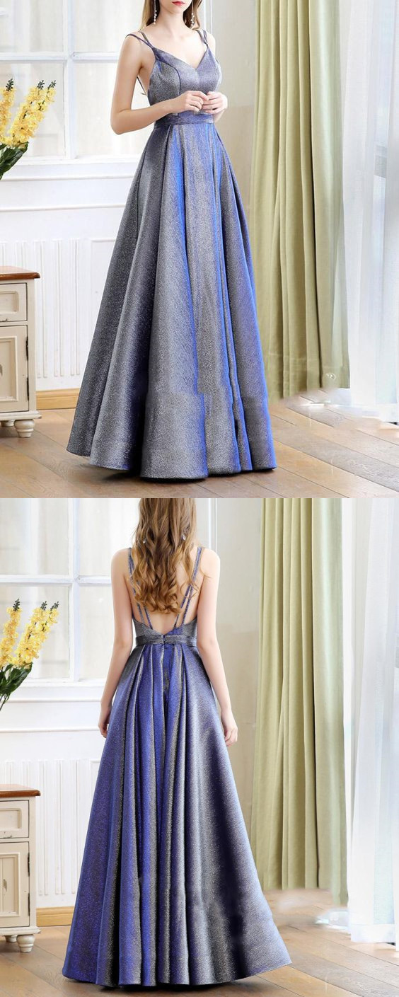 Elegant A Line Glitter Blue Evening Long Dresses 2019 with Straps