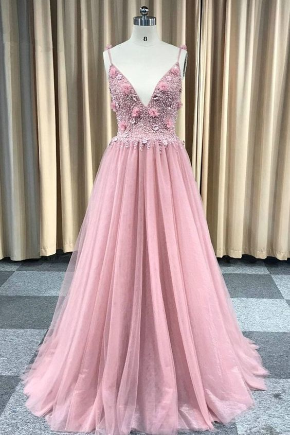 Sexy pink tulle backless long beaded party dress, pearl prom dress