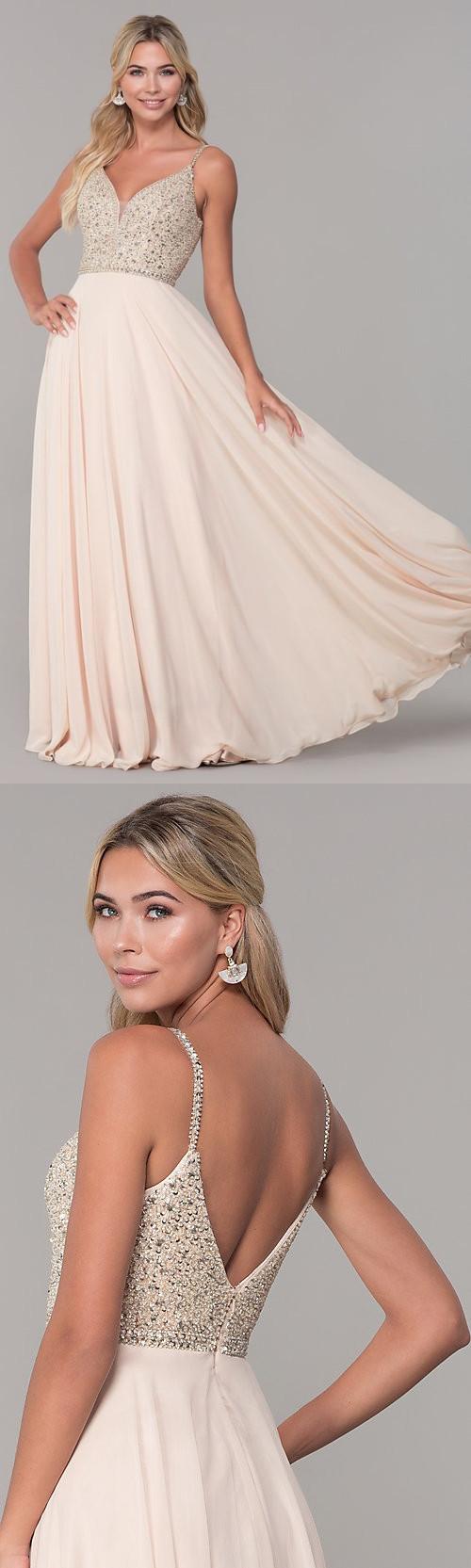 Long V-Neck Sleeveless Beaded-Bodice Prom Dress