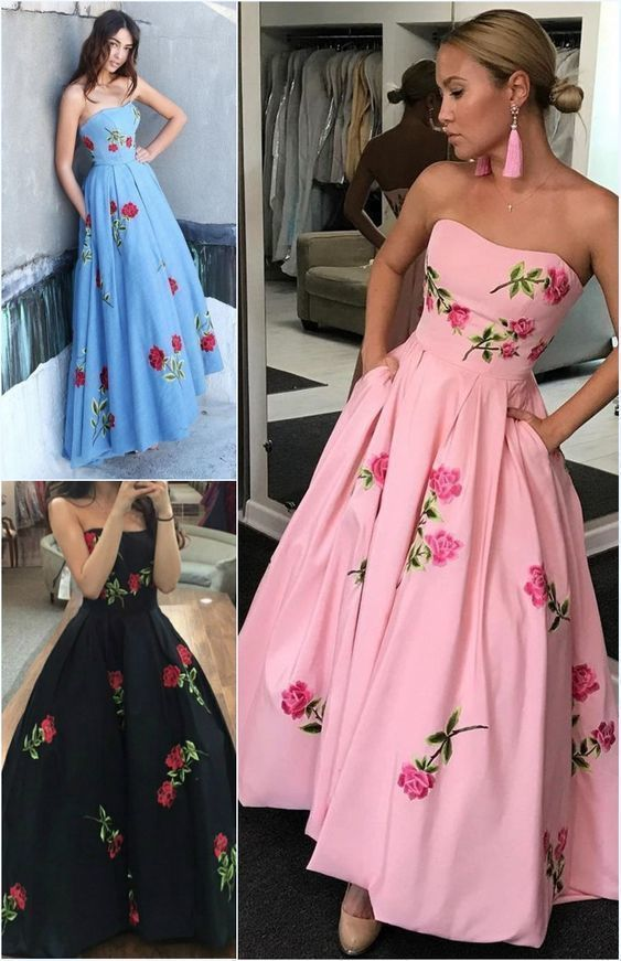 satin prom dress strapless a line fashion gown with pocket