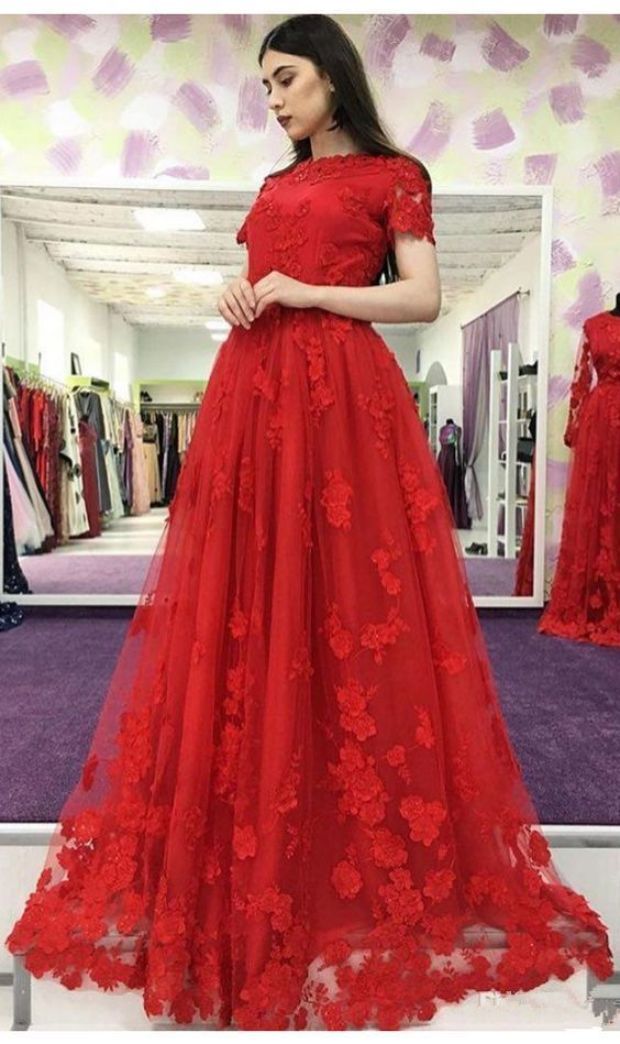 Short Sleeve Red Tulle Appliques Prom Dress, Long Prom Dresses, Formal Evening