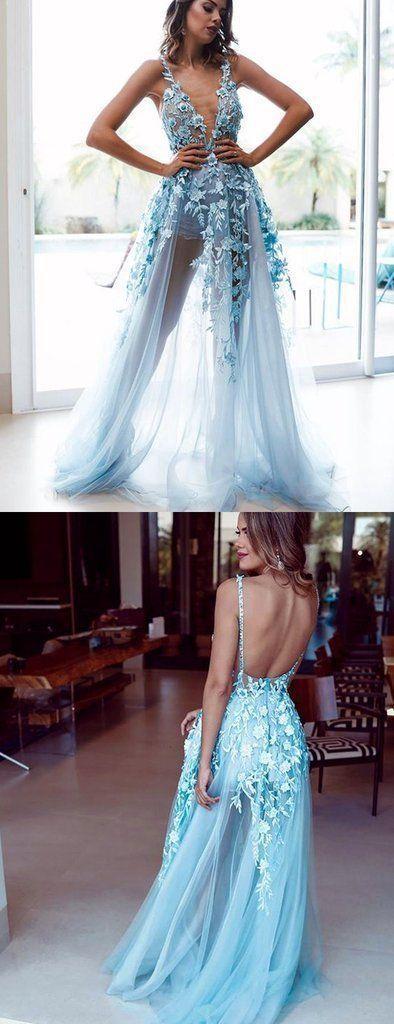 Pale Blue Tulle Lace Applique Illustion A-Line Prom Dresses
