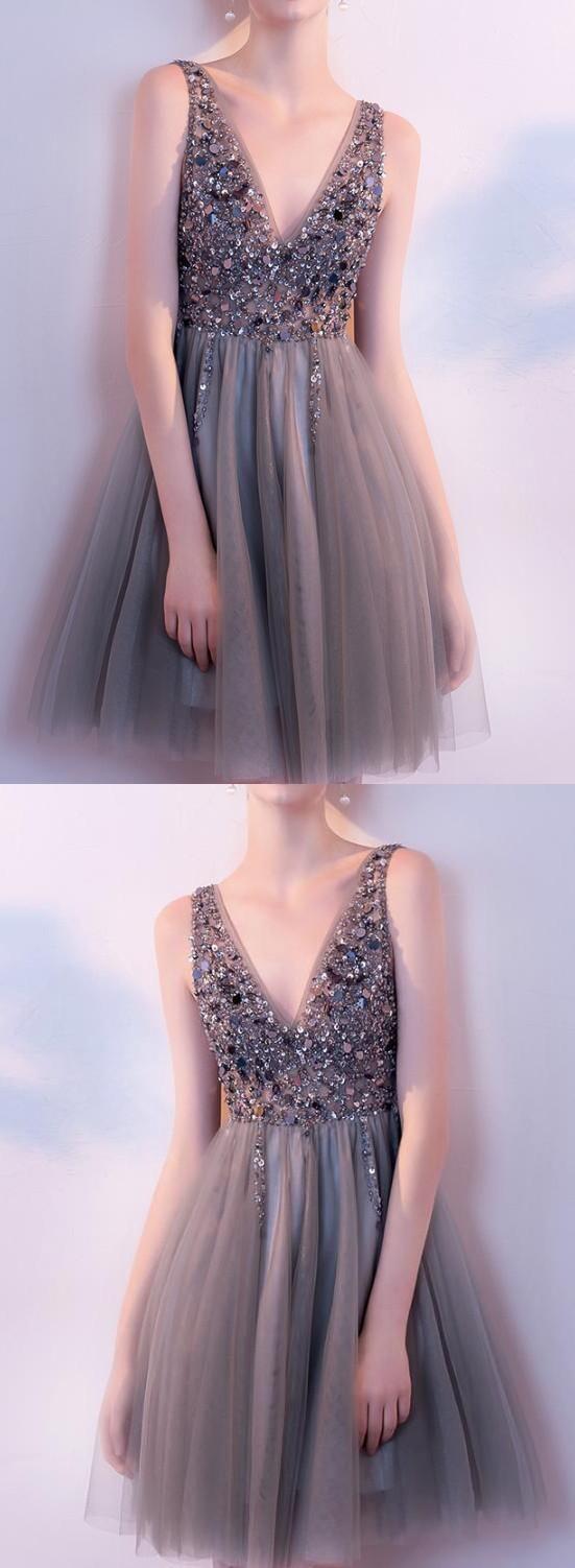V neck Short Tulle Prom Dress Beaded women Party Dress