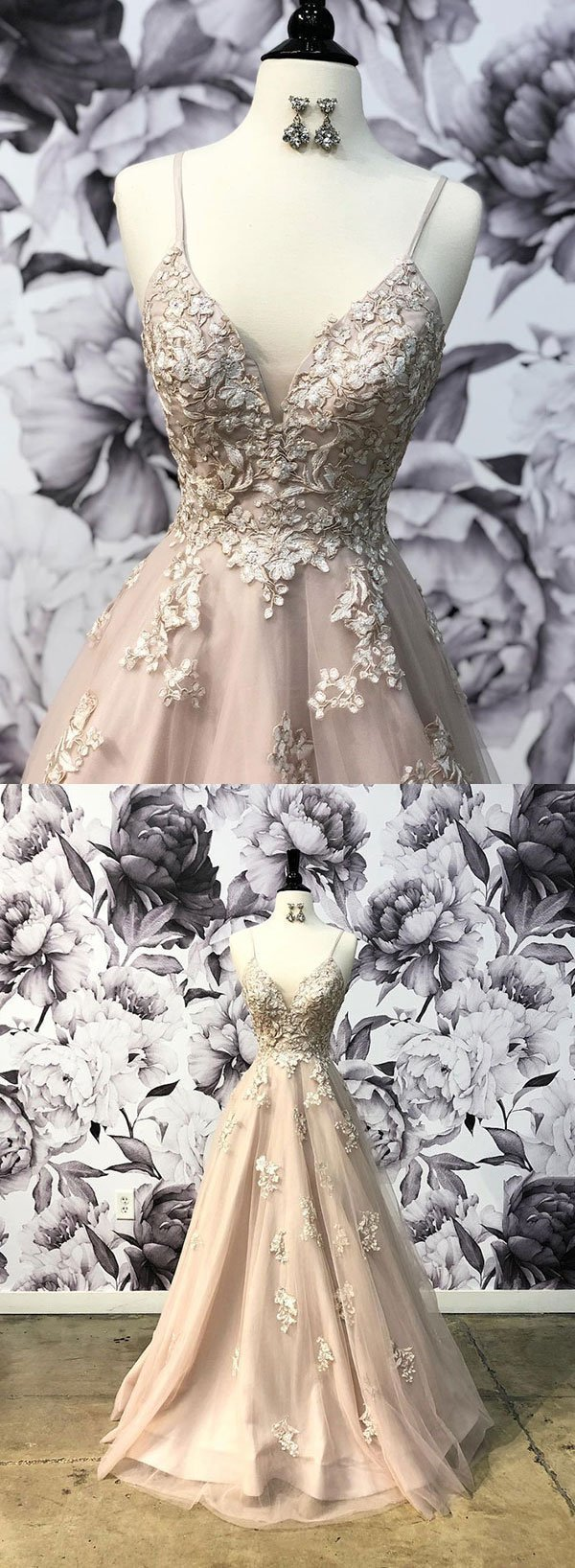 Stylish v neck tulle lace long prom dress, evening dress