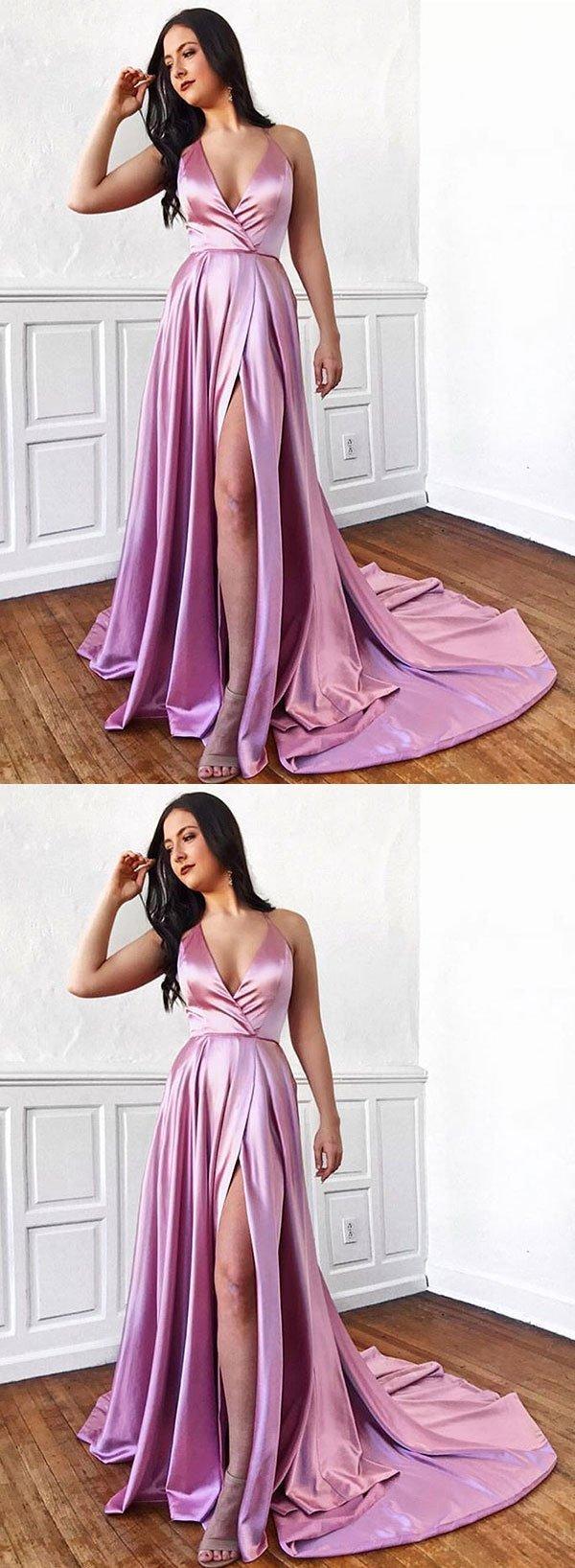Pink v neck satin long prom dress, evening dress