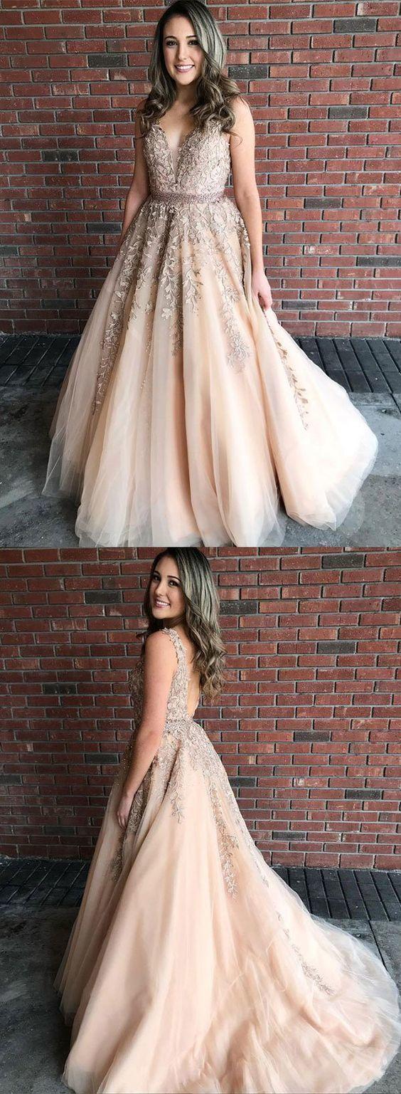 Stylish v neck tulle lace long prom dress, formal dress