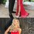 Red Satin Strapless Simple Silt Long Prom Dresses