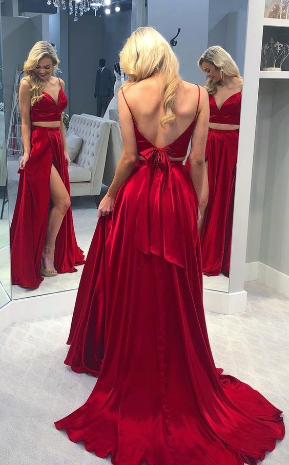 Two Piece Red Front-split Long Prom Evening Dress Gorgeous Sexy V Neck Backless