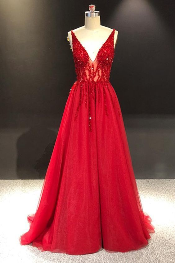 Red Tulle Long Sequins Crystal V neck A-line Formal Prom Dress, Party Dress