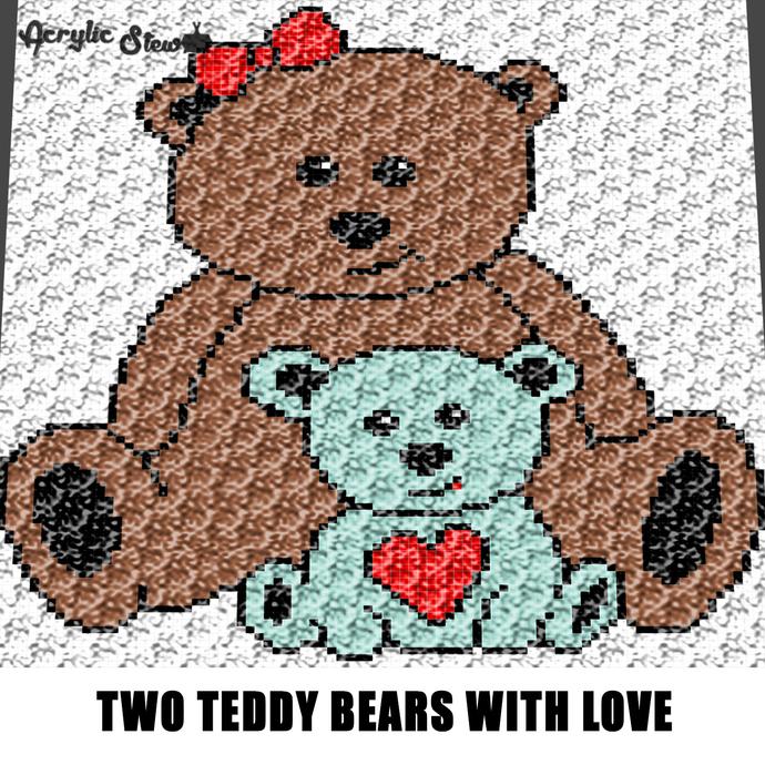 Big Teddy Bear Little Teddy Bear Heart crochet graphgan blanket pattern;