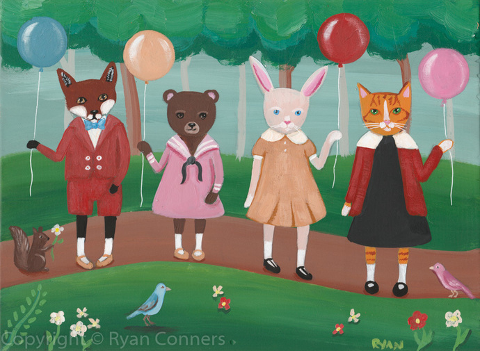 A Fun Walk Through The Park Original Cat Folk Art Painting