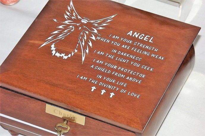 LOCKABLE Deluxe JEWELLERY ANGEL Box. with angel blessing poem. Angel lock box.