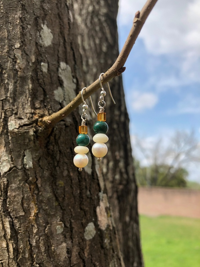 Pearl and Turquoise Drop Earrings